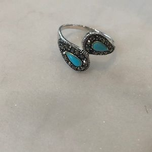 Jewelry - Sterling silver, turquoise, and marcasite ring!